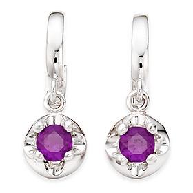 二月诞生3毫米天然紫水晶头饰一触式耳环