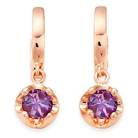 二月的诞生石耳环4mm的天然紫水晶头饰触摸