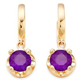 二月诞生石耳环5毫米天然紫水晶头饰触摸