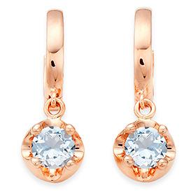 三月诞生石耳环4毫米天然海蓝宝石头饰触摸