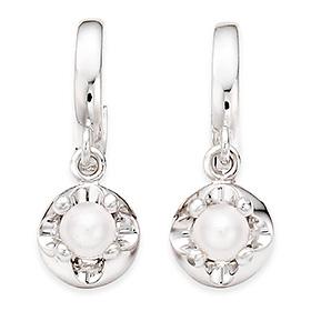 六月诞生石耳环3mm的天然珍珠头饰触摸