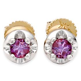 二月的诞生石耳环3mm的天然紫水晶针状头饰