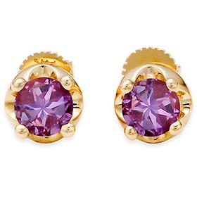 二月诞生石耳环5毫米天然紫水晶针状头饰