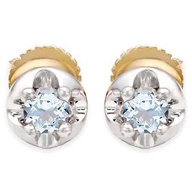 三月诞生石耳环3毫米天然海蓝宝石针状头饰