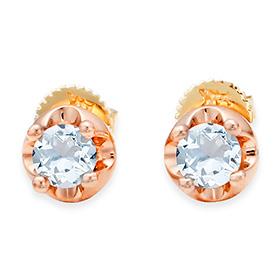 三月诞生石耳环4毫米天然海蓝宝石针状头饰