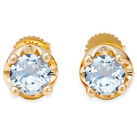 三月诞生石耳环5毫米天然海蓝宝石针状头饰