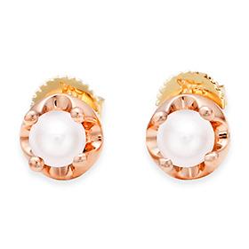 六月诞生石耳环4mm的天然珍珠头饰针