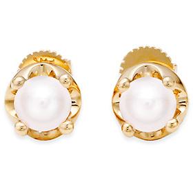 六月诞生石耳环5mm的天然珍珠头饰针