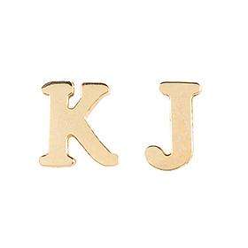 14K / 18K英语浸入式一个起始字母耳环(半)一个可用的对