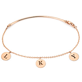 14K / 18K简单的棍子硬币手链缩写
