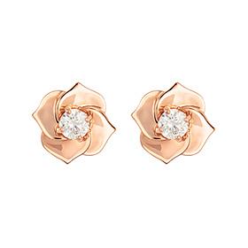 叶片14K玫瑰 - 粉色耳环[当日出货]