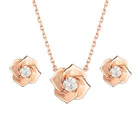 叶片14K玫瑰 - 粉色套装[项链+耳环] [当日出货]