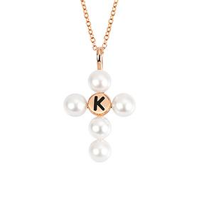 14K / 18K淡水珍珠项链缩写十字架
