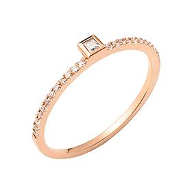 14K / 18K简单的方形戒指