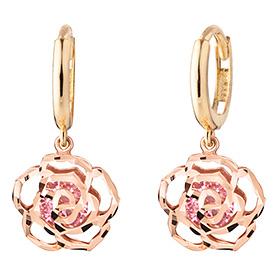 14K / 18K野生玫瑰粉色耳环