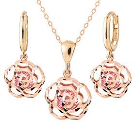 14K / 18K野玫瑰粉色套装[项链+耳环]
