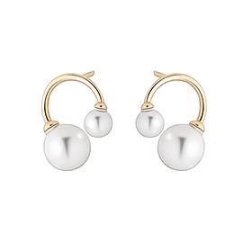 14K双珍珠耳环[施华洛世奇宝石]