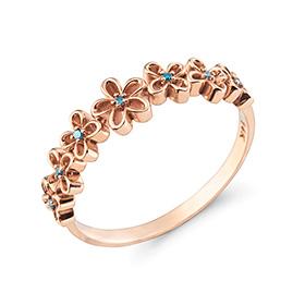 14K / 18K阿内·比茹蓝钻石戒指