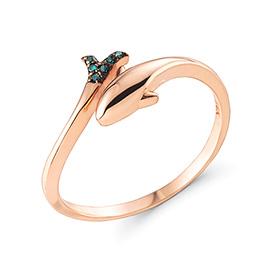 14K / 18K环海豚蓝钻石戒指