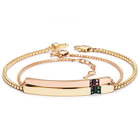 14K / 18K V英尺钻石情侣手链[男,女一种价格;