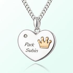 心脏硬币王冠米娅防止银项链