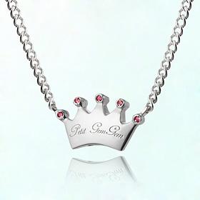 丰满王冠诞生石米娅防止银项链