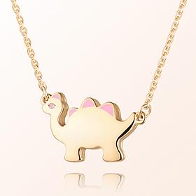 恐龙女孩(粉色)米娅防止金项链