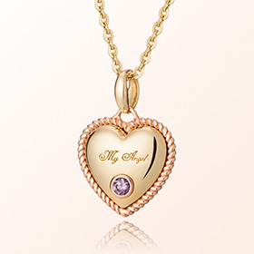 卷紫水晶心二月诞生米娅防止金项链