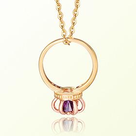 皇冠戒指紫水晶二月的诞生石米娅防止金项链