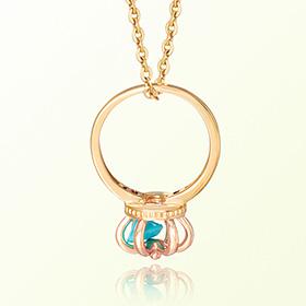 皇冠戒指绿松石十二月诞生石米娅防止金项链