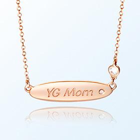 [妈妈]椭圆音量条金项链
