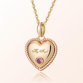 卷心脏粉色碧玺十月诞生米娅防止金项链