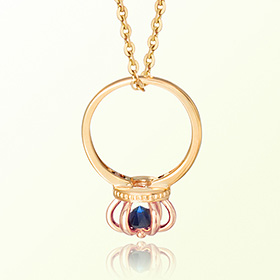 皇冠戒指蓝宝石九月诞生石米娅防止金项链