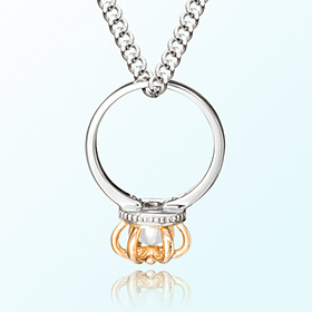 皇冠戒指珍珠六月诞生石项链银预防米亚