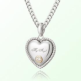 卷白色珠宝心四月诞生石米娅防止银项链