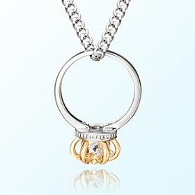 皇冠戒指白色珠宝四月诞生石米娅防止银项链