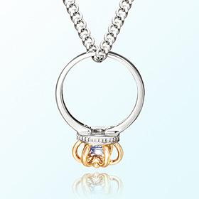 皇冠戒指海蓝宝石三月诞生米娅防止银项链