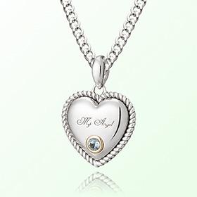 卷海蓝宝石心三月诞生米娅防止银项链