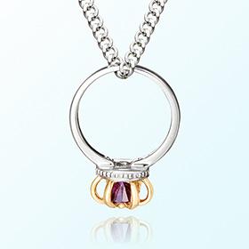 皇冠戒指紫水晶二月的诞生石米娅防止银项链