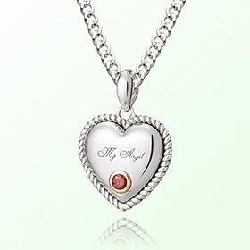 卷心脏石榴石月诞生米娅防止银项链