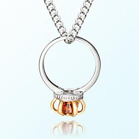 皇冠戒指石榴石月诞生米娅防止银项链