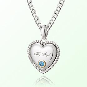 卷黄玉心十二月诞生石米娅防止银项链