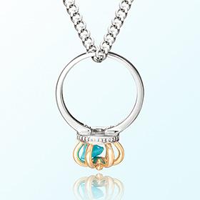 皇冠戒指绿松石十二月诞生石米娅防止银项链