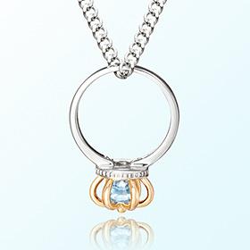 皇冠戒指黄玉十一月诞生米娅防止银项链