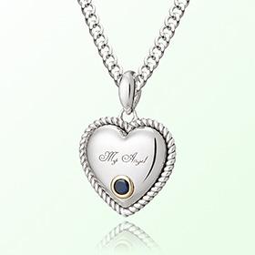 卷心蓝宝石九月诞生石米娅防止银项链