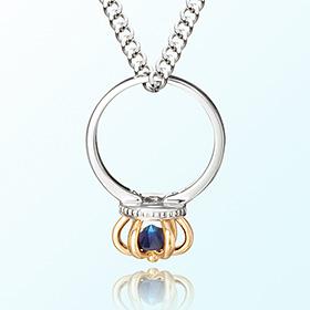 皇冠戒指蓝宝石九月诞生石米娅防止银项链