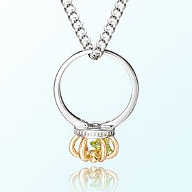 皇冠戒指橄榄石八月诞生米娅防止银项链