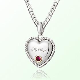 卷红宝心七月诞生米娅防止银项链