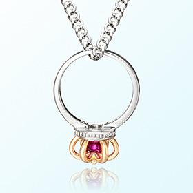 皇冠戒指红宝七月诞生米娅防止银项链