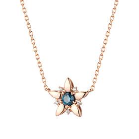 14K / 18K风之星第1部分蓝钻石项链